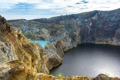 Two Different Color Crater Lake At Kelimuto Volcano Stock Photo