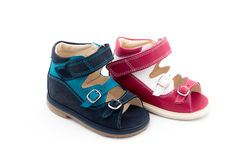 Two different colors of Babies Shoes Royalty Free Stock Photography