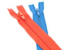 Two different colors zipper on white Royalty Free Stock Photography