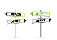 Two different design of road signs Office Beach isolated on white Royalty Free Stock Photo