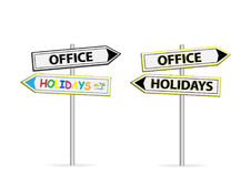 Two different design of road signs Office Holidays isolated on white Royalty Free Stock Images