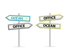 Two different design of road signs Office Ocean isolated on white Royalty Free Stock Photography