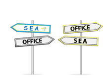 Two different design of road signs Office Sea isolated on white Royalty Free Stock Image
