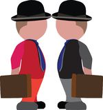 Two different distinct people face each other royalty free illustration