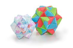 Two different dodecahedrons - three dimensions geometric figures. Two dodecahedrons different sizes - three dimensions geometric figure one of the species of Stock Image