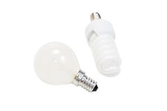Two different electric light bulb. Isolated on a white background Royalty Free Stock Photography