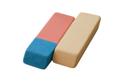 Two different erasers Stock Image