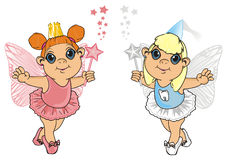 Two different fairies. Tooth fairy stand with little fairy Royalty Free Stock Images