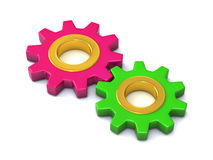 Two different gears together 3d. Two different color gears working together 3d Stock Photos