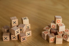 Two different groups of bricks that rival each other and are in Stock Photos