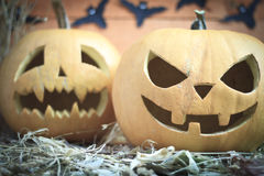 Two different Halloween pumpkins Royalty Free Stock Photos