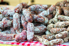 Two different kind of salami at the street market Stock Images