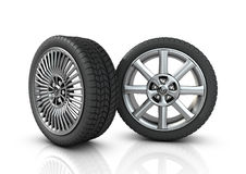 Two different mag wheels. A pair of low profile tyres on a white background royalty free illustration