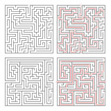Two different mazes of medium complexity on white with solutions Stock Photo