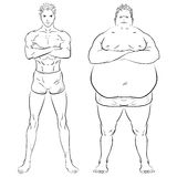 Two different men, fat, skinny and muscular. Hand drawn doodle vector illustration. Two different men, fat, skinny and muscular. Fitness studio training weight Stock Photography