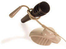 Two different microphone connected to the node. On a white background royalty free stock images