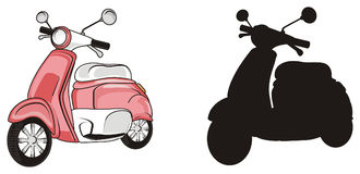 Two different mopeds. Pink moped stand with solid black moped Stock Photo