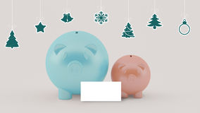 Two different piggy bank with christmas decoration Royalty Free Stock Images