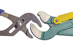 Two different pipe wrenches Royalty Free Stock Image