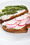 Two different sandwich on plate Royalty Free Stock Photography