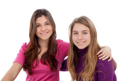 Two different sisters smiling Stock Image