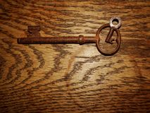 Two different size keys on wooden background Royalty Free Stock Photos