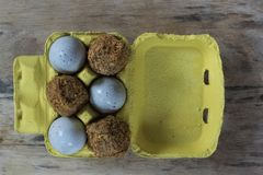 Two different sorts of century eggs in a yellow vintage cardboard tray on a wooden board stock image
