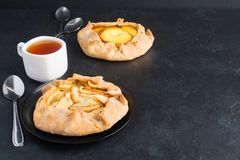 Two different sweet galette with apples and apricotes royalty free stock photography