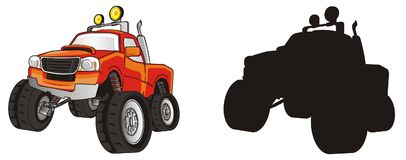 Two different trucks. Colored monster truck with solid black truck Royalty Free Stock Images