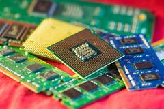CPUs with RAM. Two different types of CPUs on stacks of memory cards Royalty Free Stock Photo