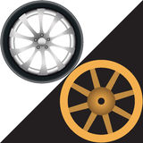 Two different wheels Royalty Free Stock Photo