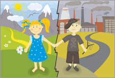 Two different worlds. Vector illustration - protection of the environment , children from different worlds royalty free illustration