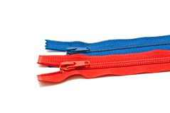 Two different zipper on white Royalty Free Stock Images