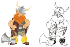 Two differents vikings. Colored and coloring vikings with ax Royalty Free Stock Image