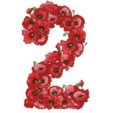 Two digit made of red poppies flowers. Floral element of colorful alphabet made from flowers. Vector illustration. Two digit made of red poppies flowers. Floral Royalty Free Stock Image