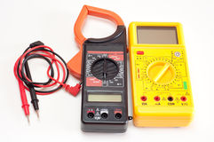 Two digital clamp meters isolated Stock Images