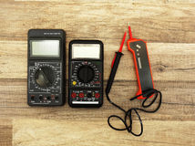 Two digital multimeters Stock Images