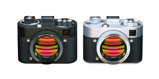 Two Digital Photo cameras. 3D Icon isolated on white background. Royalty Free Stock Photo