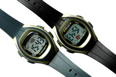 Two digital wristwatches Royalty Free Stock Images