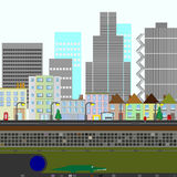 Two Dimensional City Scene royalty free stock photo
