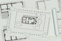 Two dimentional house plan Stock Photos