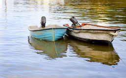 Two dinghies moored up Royalty Free Stock Image