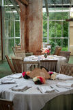 Two Dining Tables. Wait for guests before a wedding reception Royalty Free Stock Photography