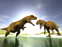 Two dinosaurs. Scene two ravenous dinosaurs Executed in 3 D Stock Photo