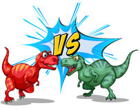 Two dinosaurs fighting each other Stock Photography