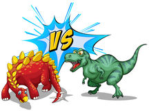 Two dinosaurs fighting on white Stock Images
