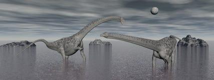 Two diplodocus dinosaur - 3d render Stock Photo