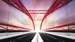 Two direction highway bridge in motion blur Royalty Free Stock Photography
