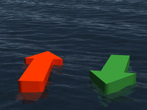 Two direction at the sea - income, outcome. Concept idea of income and outcome or two direction in difficult condition without seeing the aim, goal Stock Photo