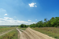 Two dirty roads in landscape Royalty Free Stock Image